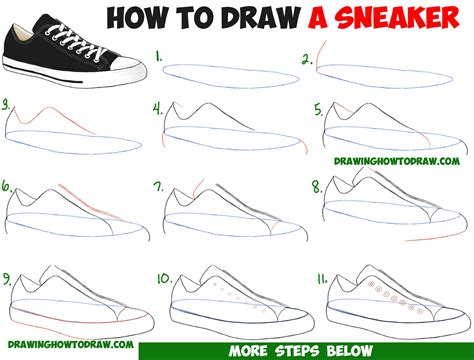 draw sneakers shoes  easy step  step