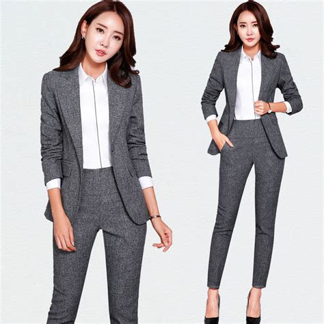 New Blazers Suit Solid Simple Women Pants Suits 2 Two Piece Sets Long Slim Jacket u0026 Pants Female ...