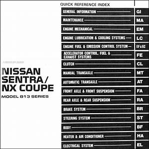 1991 Nissan Sentra  Nx Coupe Repair Shop Manual Original