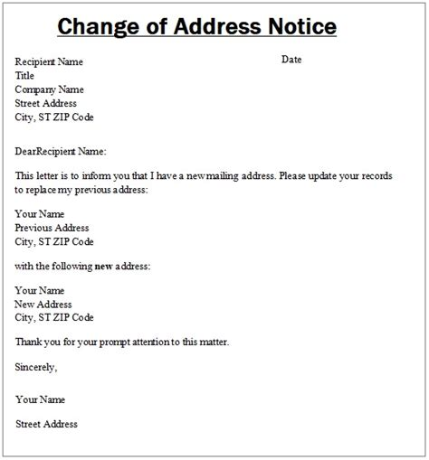 change of address template change of address notice templates 6 free word excel pdf