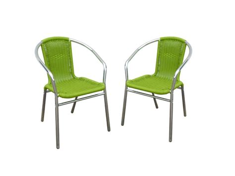 chaise de jardin verte lot de 2 chaises jardin aluminium résine tressée diabolo