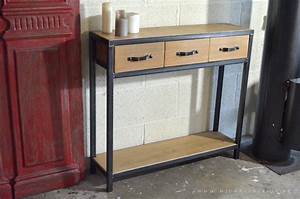 Console Metal Et Bois : table console en bois metal de style industriel micheli design ~ Teatrodelosmanantiales.com Idées de Décoration