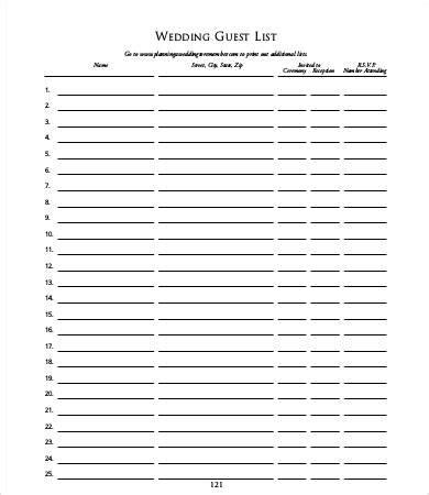 guest list template guest list templates 9 free word pdf documents free premium templates