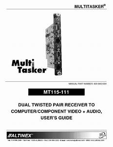 Dual Twisted Pair Receiver To Computer    Component Video