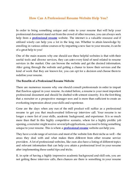 Professional Resume Help by How Can A Professional Resume Website Help You