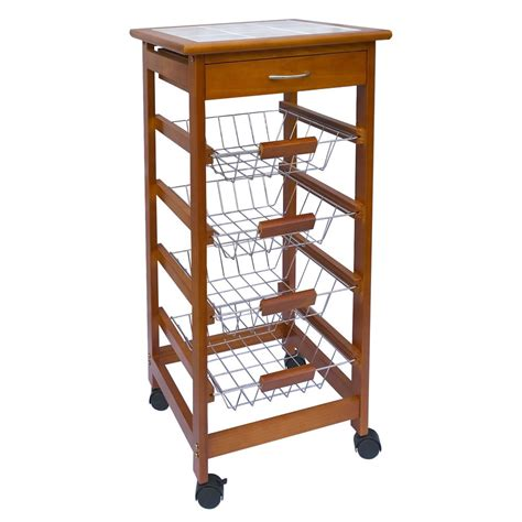 wooden kitchen storage trolley 3 4 tier kitchen trolley brown cart basket storage drawer 1647