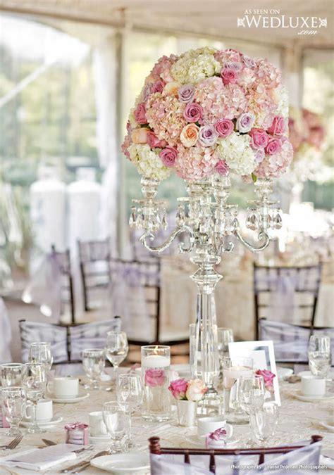 luxury pink  lavender wedding flower candelabra