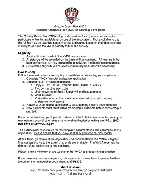 Ymca Financial Assistance Form - Fill Out and Sign ...