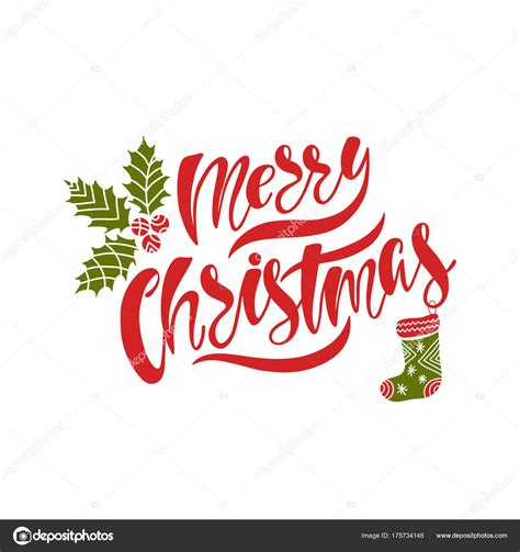 Merry Christmas Hand drawn calligraphy text Holiday