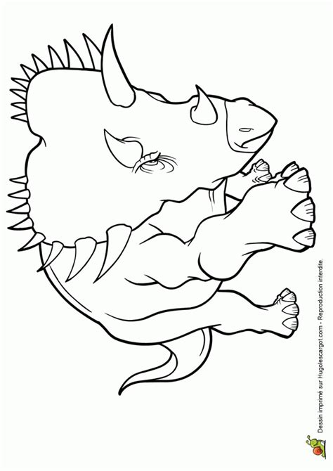 Coloriage Prehistoire Triceratops Sur Hugolescargotcom