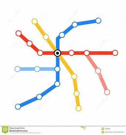Metro Map Blank Tube Vector Illustration Lines
