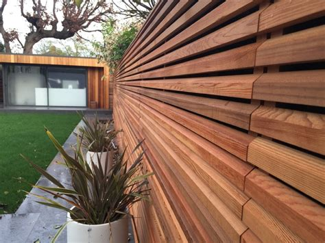 Cedar Slatted Fencing In Private Residence-contemporary