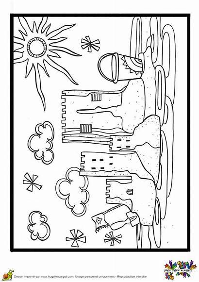 Coloriage Sable Vacances Plage Imprimer Cahier Chateau