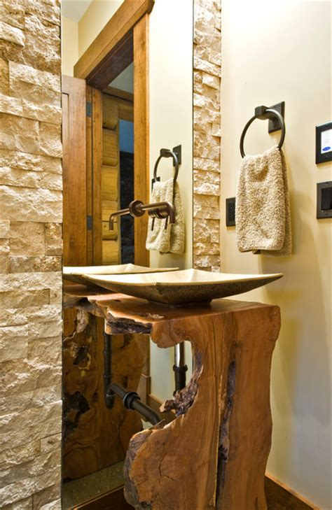 okanagan log home rustic powder room calgary