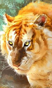 Tiger muzzle, predator, golden animal, art wallpaper   Big ...