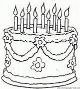 Coloring Cake Birthday Printable sketch template
