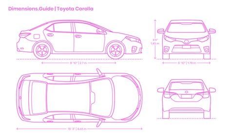 Toyota Corolla Dimensions by Toyota Corolla Dimensions Drawings Dimensions Guide