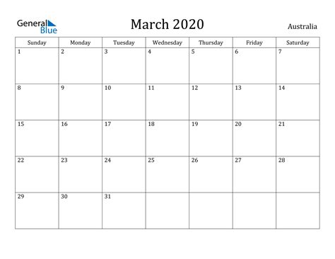 march  calendar australia