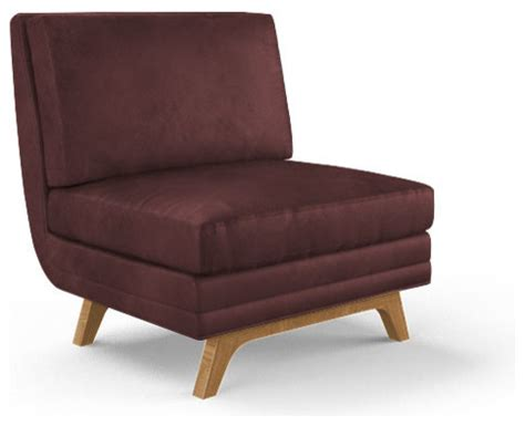 calhoun leather armless chair brighton aubergine purple