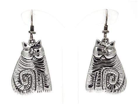 vintage silver laurel burch shambala cat earrings