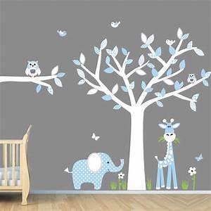 Baby blue nursery wall art jungle decals boy
