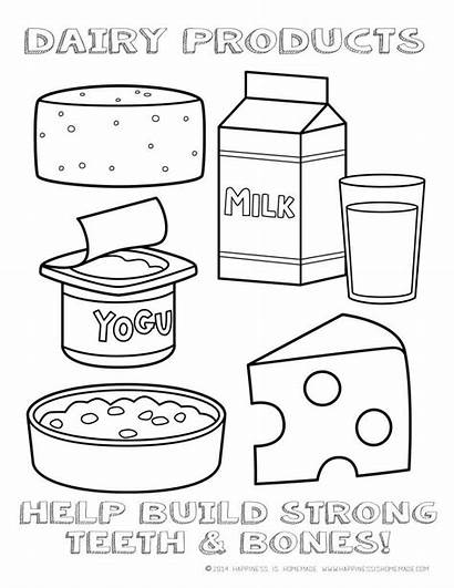 Coloring Dairy Healthy Pages Printable Eating Chart