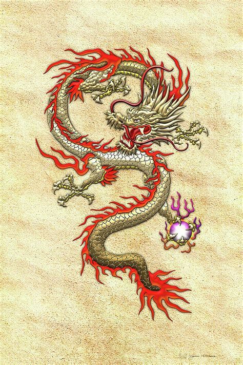 golden chinese dragon fucanglong on rice paper digital art by serge averbukh