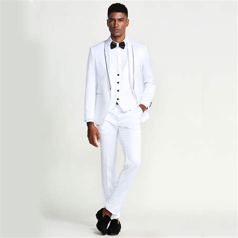 white slim fit tuxedo fully satin  piece set wedding