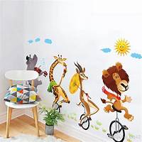 lovely lion wall decals Lovely Lion Elephant Wall Stickers Bike Animal Wall Decals For Kids Boy Living Room Bedroom Home ...