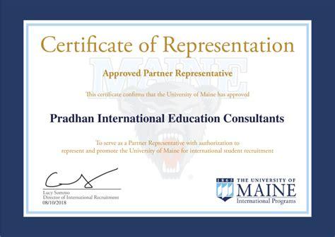 certificate  representation pradhan international