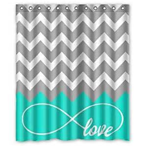 infinity forever symbol chevron pattern turquoise grey white waterproof bathroom
