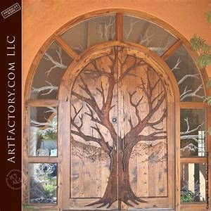 Tree, Carved, Entrance, Door, U2013, Transom, And, Matching, Side, Lights