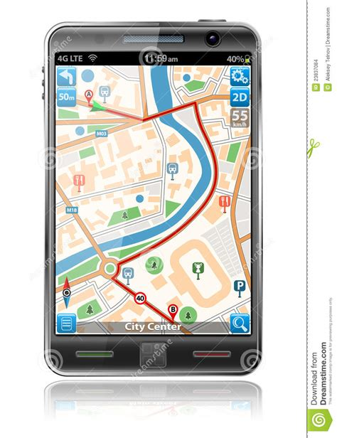 gps a phone smart phone with gps navigation application stock images