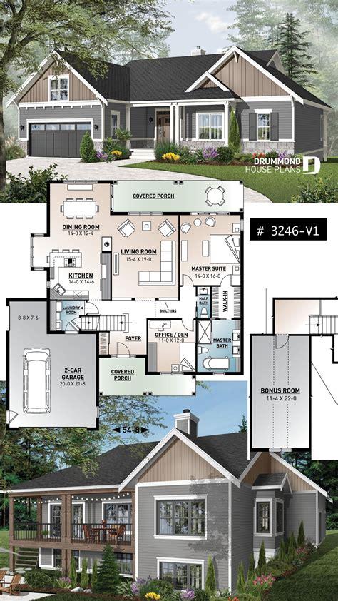 open floor house plans  walkout basement bungalow house plans craftsman house plans