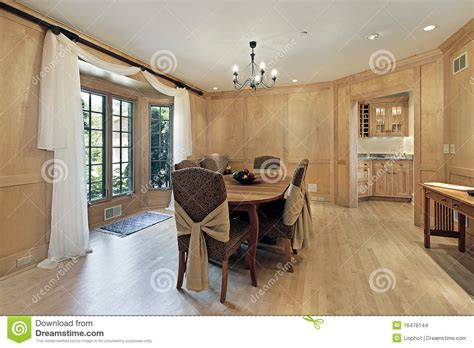 dining room  oak wood paneling stock images image
