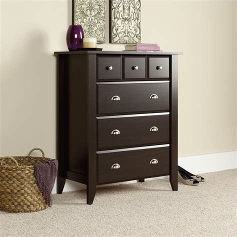 sauder shoal creek dresser in jamocha wood 4 drawer chest in jamocha wood 409714