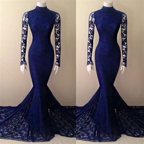 navy blue lace mermaid high neck prom dress  long