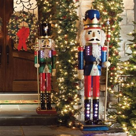 christmas soldier steps to drawyard sign lighted nutcrackers frontgate nutcracker outdoor and decor