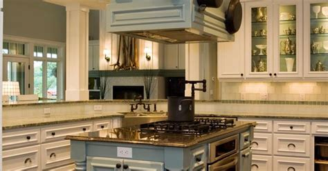 transitional kitchen  pale blue island houses