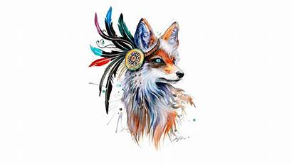 Fox Drawing Colorful Animals Simple Background Feathers