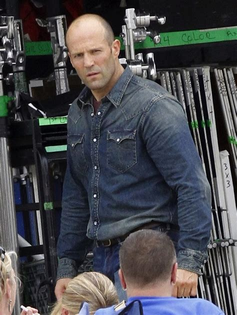 jason statham wearing rrl denim western shirt   set