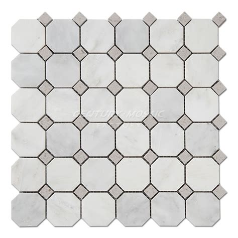 statuary white marble octagon mosaic tile collection
