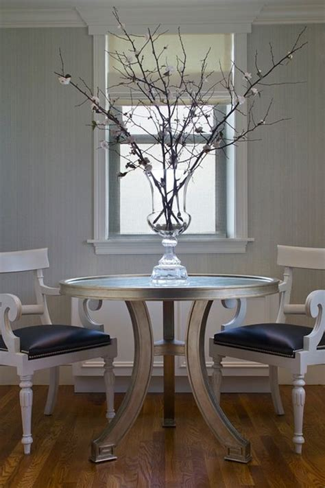 chic dining room  gray textured walls  silver