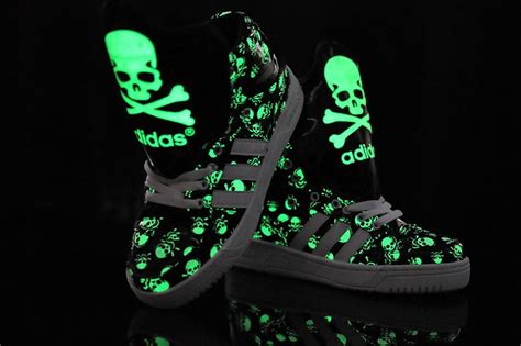 Glow In The Dark High Tops Skulls Big Tongue Shoes Adidas