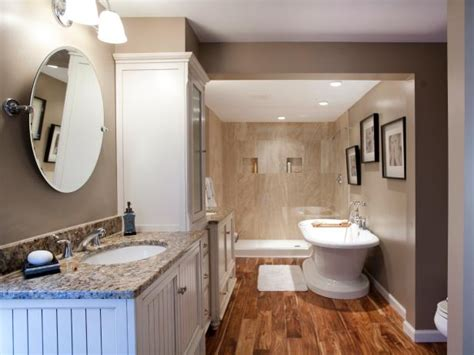 neutral master bathroom  hardwood flooring hgtv