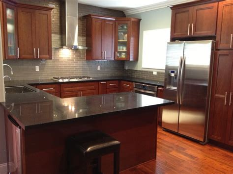 kitchen cabinets american cherry glass subway tile