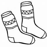 Socks Coloring Winter Pair Season sketch template