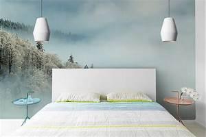 Papier peint chambre forêt enneigée Izoa