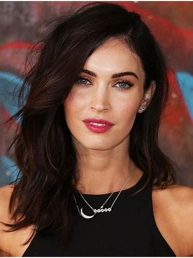 Straight Shoulder Length Brown Synthetic Megan Fox Wigs