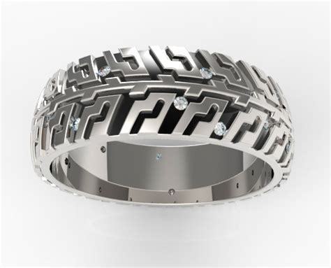 Men's Tire Tread Diamond Wedding Band  Unique Design. Life Preserver Rings. Men's Simple Wedding Rings. Long Skinny Finger Engagement Rings. Round Stone Wedding Rings